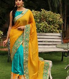Buy Yellow and teal embroidered georgette saree with blouse georgette-saree online