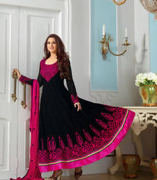 Buy Black Embroidered Anarkali Long Frock – By Indian Actress Sonali Bendre semi-stitched-salwar-suit online