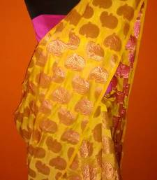 Buy yellow brocade saree brocade-saree online