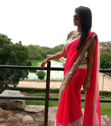 Buy Pink georgette and net saree wedding-saree online