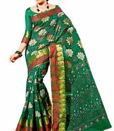 Buy Bold Cotton Saree in Green. 6402 L. Muhenera Office Wear collection. Limited time Discount printed-saree online