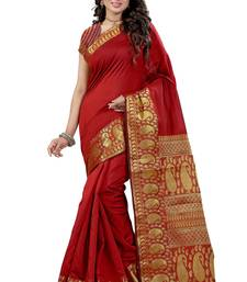 Buy Red printed cotton silk saree with blouse kota-silk-saree online