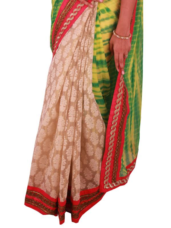 Buy sweta sutariya 39 s green yellow tie dye and golden tissue silk half and half saree with - Tie and dye tissu ...