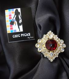 Buy Royal Kundan Adjustable ring with red stone - Diamond Shaped Ring online