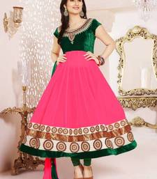 Buy Pink And Green Colour Viscose Anarkali Salwar Kameez By Fabfiza anarkali-salwar-kameez online