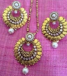 Buy South India Temple Lakshmi Coin Ginni Pearl Polki Festival Ethnic Pendant Set rj30 necklace-set online