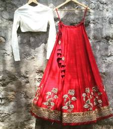 Buy Red embroidered art silk unstitched lehenga lehenga-choli online