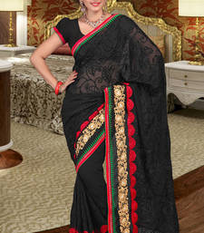 Buy Magical Black Chiffon Saree showing Resham Embroidery work chiffon-saree online