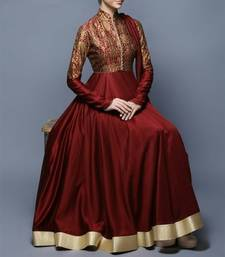 Buy Maroon printed satin semi stitched salwar with dupatta dress-material online
