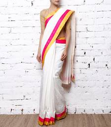 Buy White Cotton Saree cotton-saree online