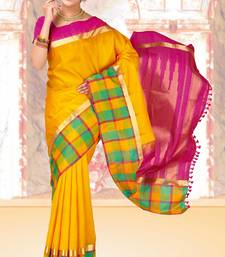Buy Mango yellow weaved silk saree with blouse silk-saree online