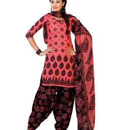 Buy Ritiriwaz Pink Cotton Patiyala Dress Material with dupatta CC1210A dress-material online