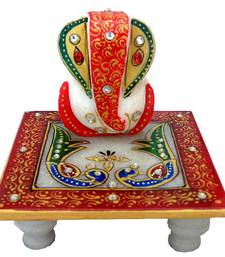 Buy Chitrahandicraft Marble Chowki Ganesh sculpture online