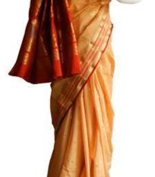 Buy Banarasi Art Silk Peach Saree With Zari Work and Blouse banarasi-silk-saree online