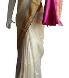 Buy Off White & Pink Banarasi Silk Saree 17011-2212 banarasi-silk-saree online