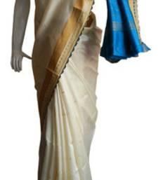 Buy Off White & Blue Banarasi Silk Saree 17011-2216 banarasi-silk-saree online