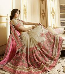 Buy Light hot pink embroidered super net saree with blouse eid-saree online