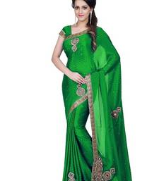 Buy parrot green embroidered silk saree with blouse silk-saree online