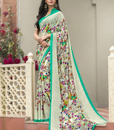 Buy Cream printed crepe saree with blouse party-wear-saree online