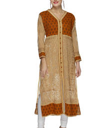 Buy Fawn embroidered georgette ethnic-kurtis ethnic-kurti online