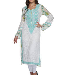 Buy White embroidered georgette ethnic-kurtis ethnic-kurti online
