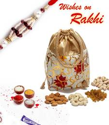 Buy Rakhi gifts for sister - Floral print Leatherite Dry fruit pouch rakhi-gifts-for-sister online