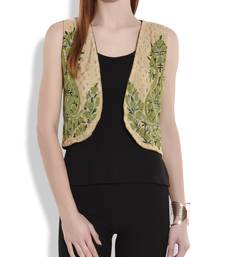 Buy Beige and green reversible kashmiri embroidery silk shrug ethnic-jacket online