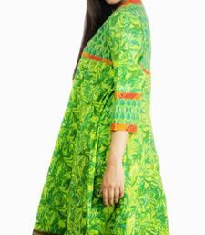 Buy Dorabella Women's Designer Cotton Anarkali [N1238A_Green] kurtas-and-kurti online
