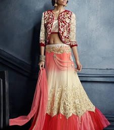 Buy Multicolor embroidered net unstitched lehenga punjabi-lehenga online