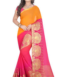 Buy Salmon printed pure banarasi silk saree with blouse banarasi-saree online