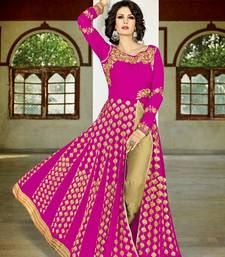 Buy Hot pink embroidered georgette semi stitched salwar with dupatta wedding-salwar-kameez online