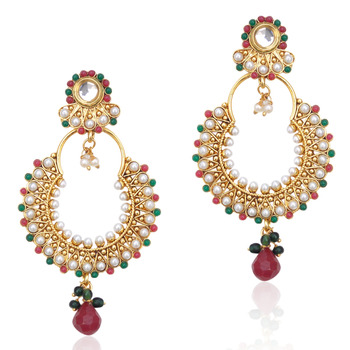 Kundan red green pearl bali earring,Ethnic Indian Bollywood Women Jewelry c467mg
