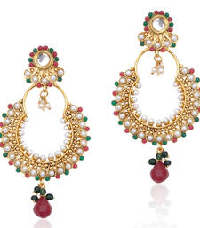 Kundan red green pearl bali earring,Ethnic Indian Bollywood Women Jewelry c467mg shop online