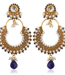 Kundan deep blue pearl bali hoop earring,Ethnic Indian Bollywood Jewelry c467b