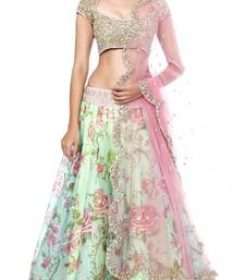 Buy Green embroidered georgette stitched lehenga bollywood-lehenga online
