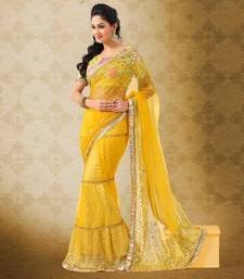 Buy Yellow Soft Nett with Allover Sequins Embroidery Work Saree 377 net-saree online
