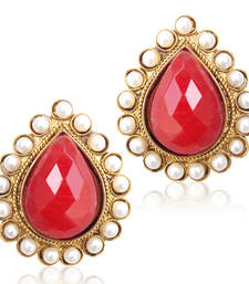 Buy Desirous Deep Red stone with a pearl border ha82M stud online