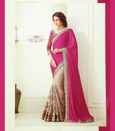 Buy Dark pink embroidered chiffon saree with blouse wedding-saree online