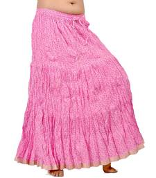 Buy Zari Border Pink Cotton Fashionable Long Skirt skirt online