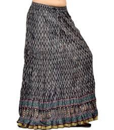 Buy Rajasthani Black Block Print Cute Cotton Skirt skirt online