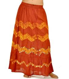 Buy Adorable Red Yellow Bandhej Cute Cotton Skirt skirt online