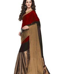 Buy Red plain cotton silk saree with blouse cotton-saree online