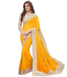 Buy Yellow stone embellished georgette saree with blouse Piece georgette-saree online