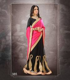 Buy Rani Colour Satin Georgette With Jari & Sequence Embroidery Saree 385 georgette-saree online