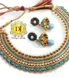 Buy Grand turquoise pearl polki necklace set necklace-set online
