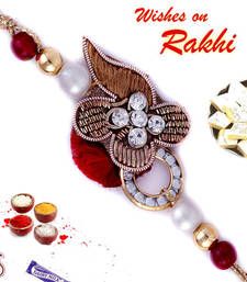 Buy Rakhi gifts online Flower - Zardosi work rakhi-with-sweet online