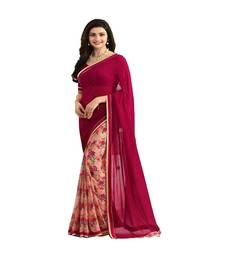 Buy Maroon printed georgette saree with blouse georgette-saree online