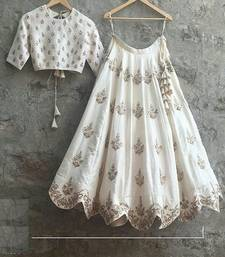 White embroided tapeta silk lehenga with dupatta shop online