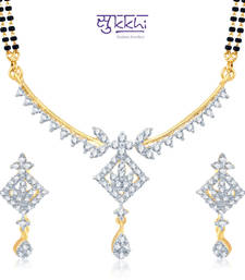 Sukkhi Pleasing Gold and Rhodium Plated Cubic Zirconia Stone Studded Mangalsutra Set(14044MSCZK1550) shop online