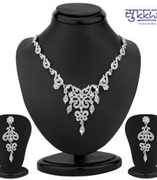 Buy Sukkhi Appealing Rhodium Plated Australian Diamond Necklace Set(1181VN1250) great-online-shopping-festival-2014 online